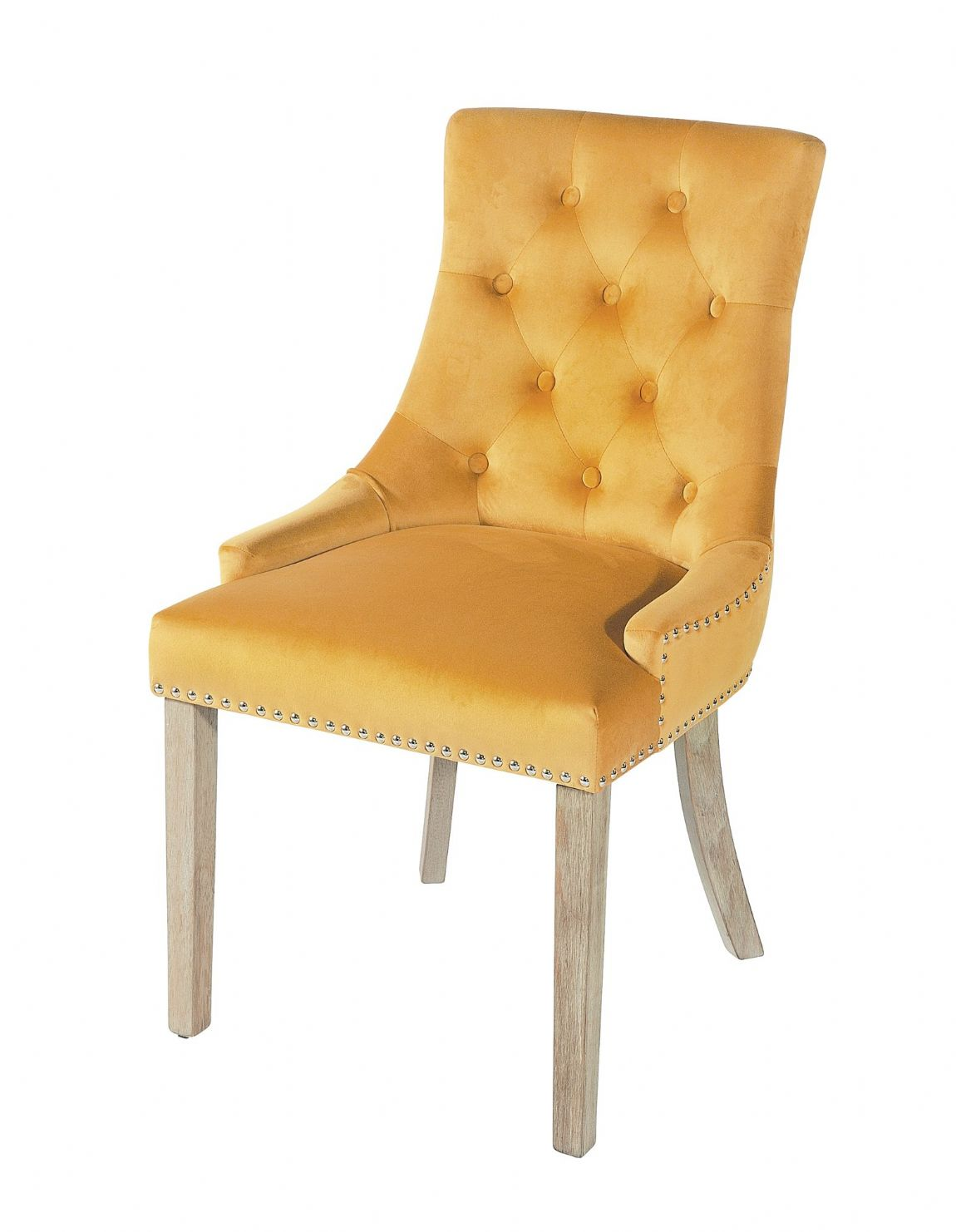 Duporth Mustard Yellow Velvet Upholstered Chair - UK Mainland Delivery